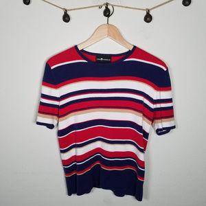 Sag Harbor Retro 90's Striped Cropped Sweater M